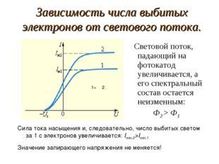 Зависимость числа выбитых электронов от светового потока. Световой поток, пад