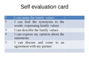 Self evaluation card 1 I can name the family values 2 I can find the synonyms