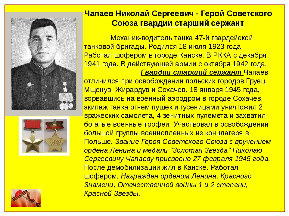 Чапаев Николай Сергеевич - Герой Советского Союза гвардии старший сержант Ме...