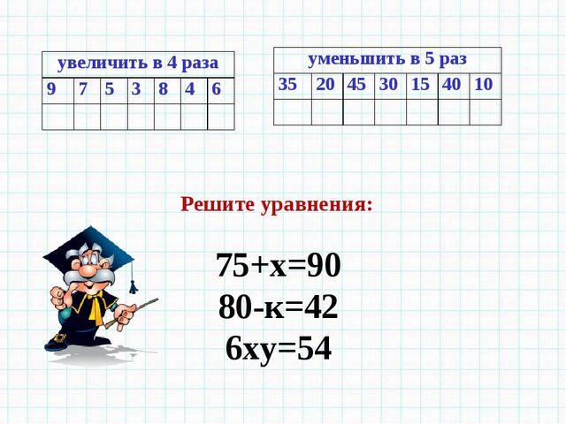 Решите уравнения: 75+х=90 80-к=42 6ху=54 увеличить в 4 раза 9753846...