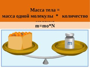 Масса тела = масса одной молекулы * количество молекул m=mо*N