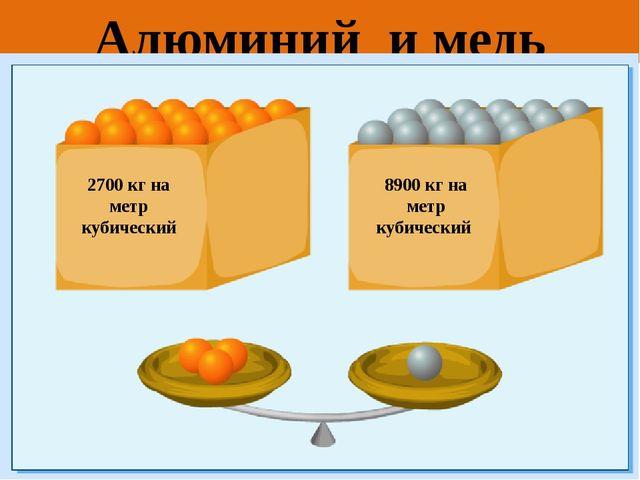 Алюминий и медь 2700 кг на метр кубический 8900 кг на метр кубический
