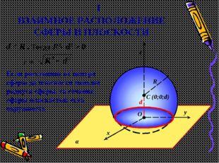 ВЗАИМНОЕ РАСПОЛОЖЕНИЕ СФЕРЫ И ПЛОСКОСТИ α y x z C (0;0;d) O R 1 d < R . Тогда