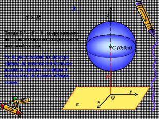 α y x d z C (0;0;d) O 3 d > R Тогда R2 – d2 < 0 , и уравнению не удовлетворяю