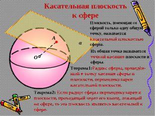 α О А Касательная плоскость к сфере Плоскость, имеющая со сферой только одну