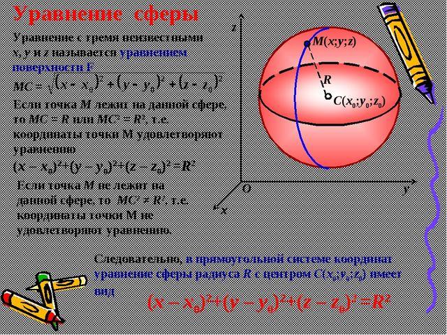 R M(x;y;z) C(x0;y0;z0) z y x O Уравнение сферы Уравнение с тремя неизвестными...
