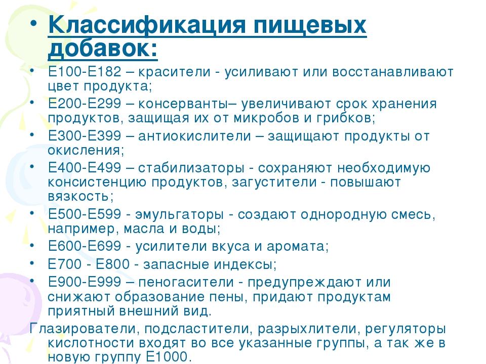 Классификация пищевых добавок: E100-E182 – красители - усиливают или восстана...