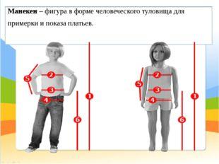 Манекен– фигура в форме человеческого туловища для примерки и показа платьев.