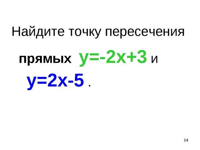 * Найдите точку пересечения прямых у=-2х+3 и у=2х-5 .