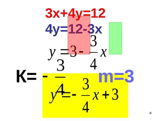 * 3х+4у=12 4у=12-3х m=3