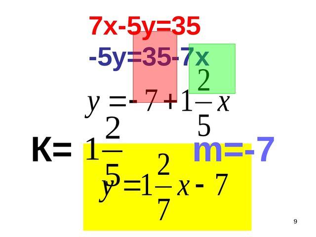 * 7х-5у=35 -5у=35-7х m=-7