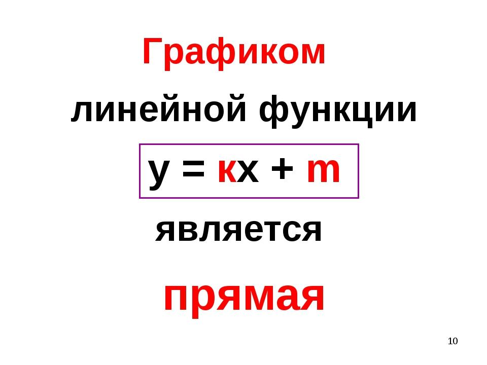 * Графиком линейной функции у = кх + m является прямая