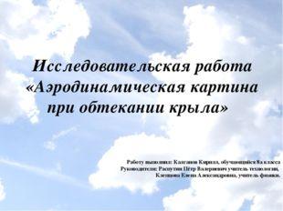 Исследовательская работа «Аэродинамическая картина при обтекании крыла» Работ