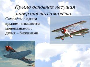 Крыло основная несущая поверхность самолёта. Самолёты с одним крылом называют