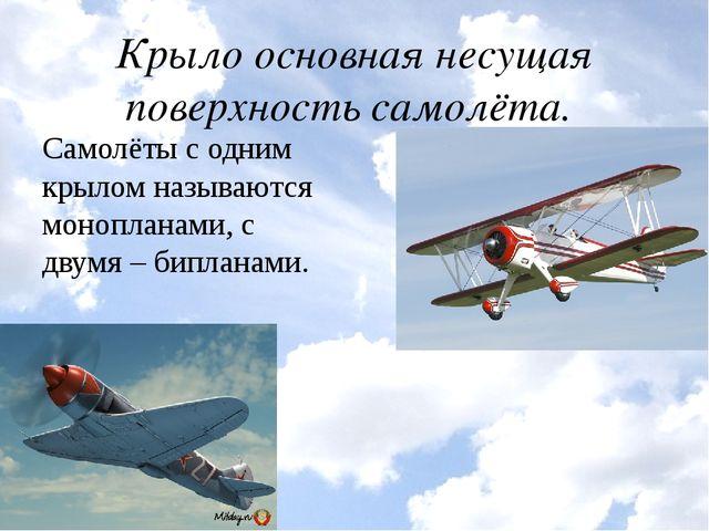 Крыло основная несущая поверхность самолёта. Самолёты с одним крылом называют...