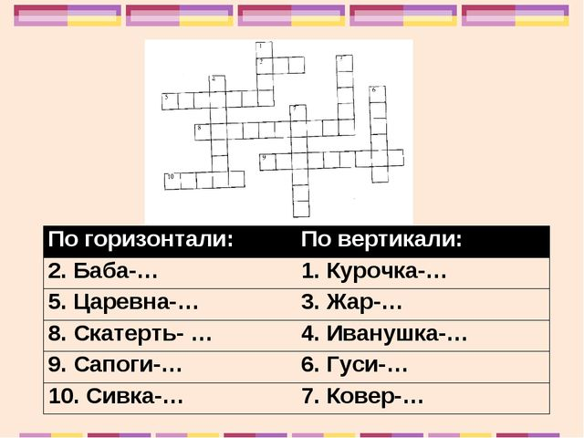 По горизонтали:По вертикали: 2. Баба-…1. Курочка-… 5. Царевна-…3. Жар-… 8....