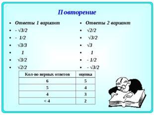 Повторение Ответы 1 вариант - √3/2 - 1/2 √3/3 1 √3/2 √2/2 Ответы 2 вариант √2
