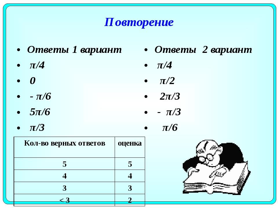 Повторение Ответы 1 вариант π/4 0 - π/6 5π/6 π/3 Ответы 2 вариант π/4 π/2 2π/...