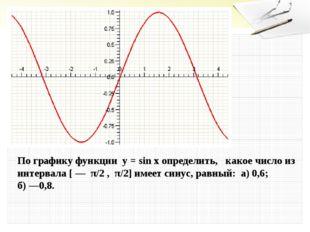 По графику функции у = sin xопределить, какое число из интервала [ — π/2