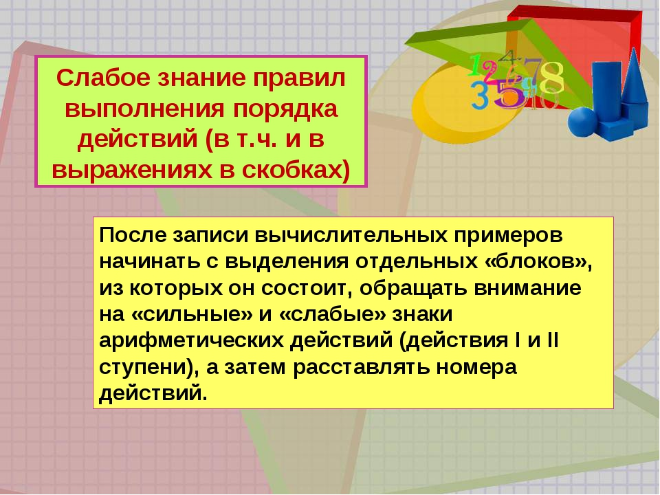 Слабое знание правил выполнения порядка действий (в т.ч. и в выражениях в ско...