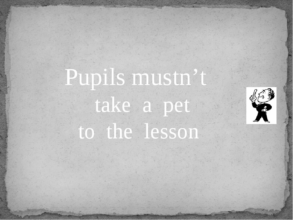Pupils mustn't take a pet to the lesson
