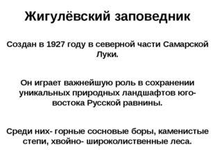Жигулёвский заповедник Создан в 1927 году в северной части Самарской Луки. Он
