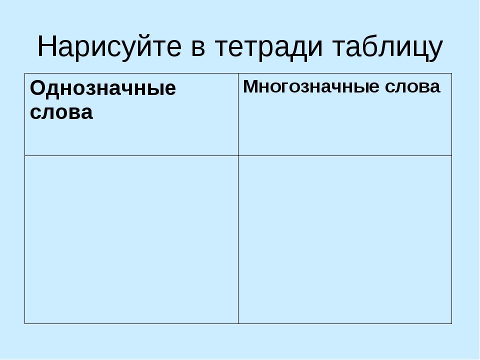 Нарисуйте в тетради таблицу Однозначные словаМногозначные слова