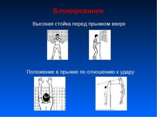 Блокирование Высокая стойка перед прыжком вверх Положение в прыжке по отношен