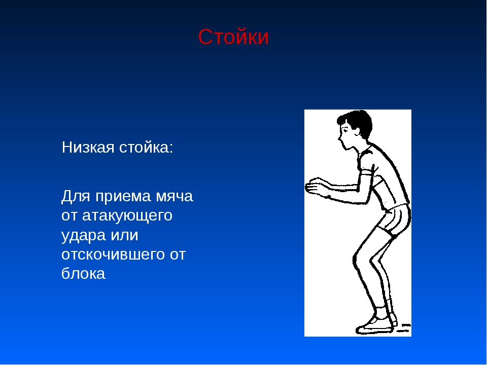 Стойки Низкая стойка: Для приема мяча от атакующего удара или отскочившего от...