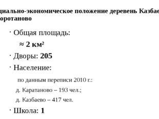 Социально-экономическое положение деревень Казбаево и Коротаново Общая площад