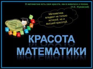 В математике есть своя красота, как в живописи и поэзии. (Н.Е. Жуковский) Мат