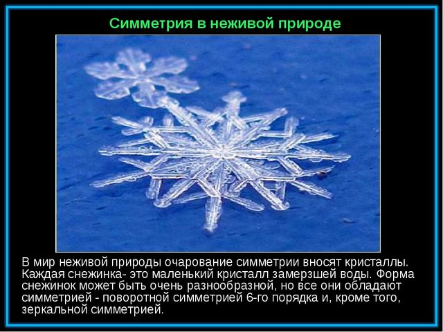 В мир неживой природы очарование симметрии вносят кристаллы. Каждая снежинка-...