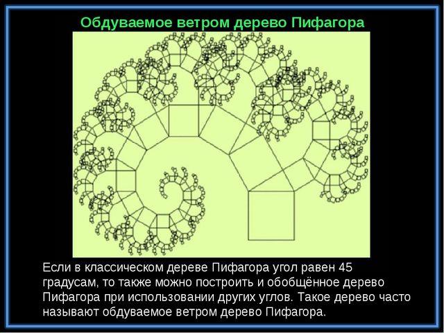 Обдуваемое ветром дерево Пифагора Если в классическом дереве Пифагора угол ра...