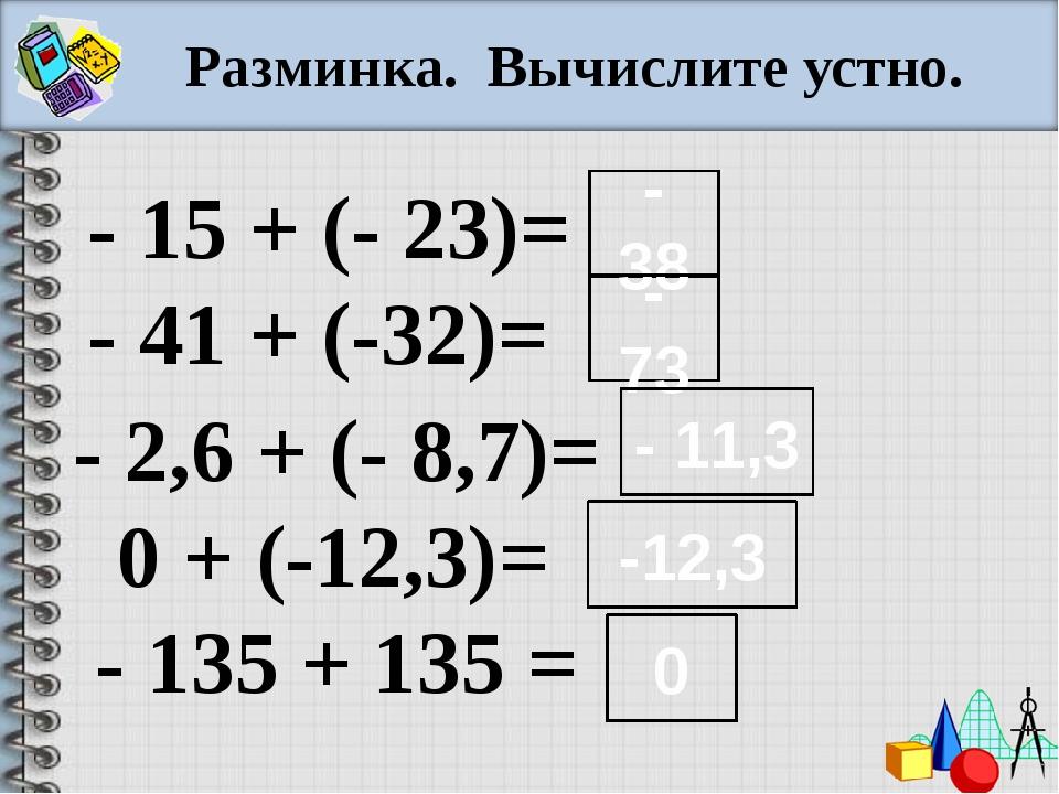 Разминка. Вычислите устно. - 15 + (- 23)= - 41 + (-32)= - 2,6 + (- 8,7)= 0 +...