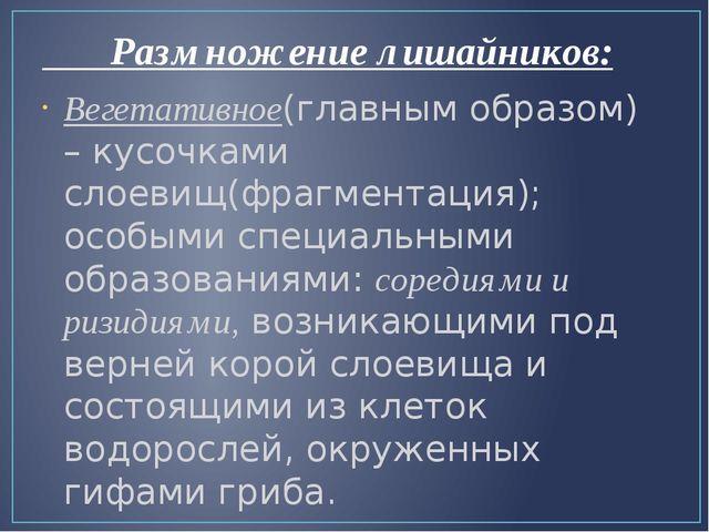 Размножение лишайников: Вегетативное(главным образом) – кусочками слоевищ(фр...