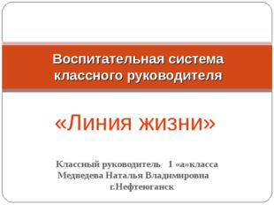 Классный руководитель 1 «а»класса Медведева Наталья Владимировна г.Нефтеюган