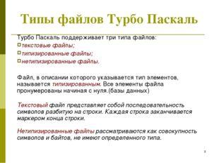 * Типы файлов Турбо Паскаль Турбо Паскаль поддерживает три типа файлов: текст
