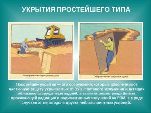 УКРЫТИЯ ПРОСТЕЙШЕГО ТИПА Простейшие укрытия — это сооружения, которые обеспеч