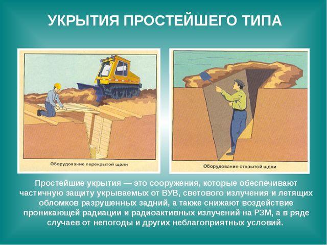 УКРЫТИЯ ПРОСТЕЙШЕГО ТИПА Простейшие укрытия — это сооружения, которые обеспеч...