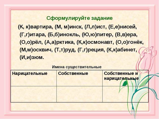 Сформулируйте задание (К, к)вартира, (М, м)инск, (Л,л)ист, (Е,е)нисей, (Г,г)...