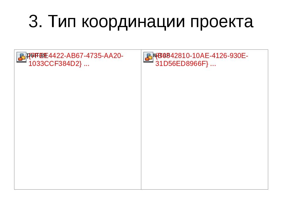 3. Тип координации проекта