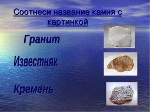 Соотнеси название камня с картинкой