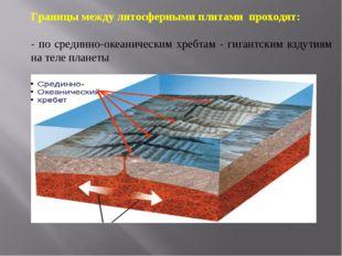 Границы между литосферными плитами проходят: - по срединно-океаническим хребт