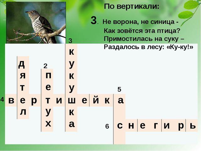 1 2 3 5 4 6 По вертикали: в е р т и ш е й к а 3. Не ворона, не синица - Как з...