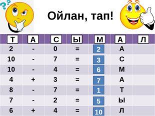Ойлан, тап! 2 3 6 7 1 5 10 Т А С М Ы Л А 2 - 0 = А 10 - 7 = С 10 - 4 = М 4 +