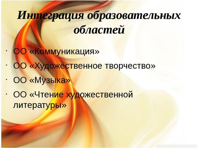 Интеграция образовательных областей ОО «Коммуникация» ОО «Художественное твор...