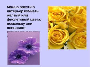 Можно ввести в интерьер комнаты жёлтый или фиолетовый цвета, поскольку они по