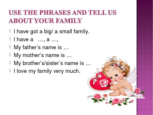 I have got a big/ a small family. I have a …, a …, My father's name is … My m...