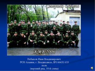 Небыков Иван Владимирович РСО Алания, г. Владикавказ, ВЧ 66431 633 полк (верх