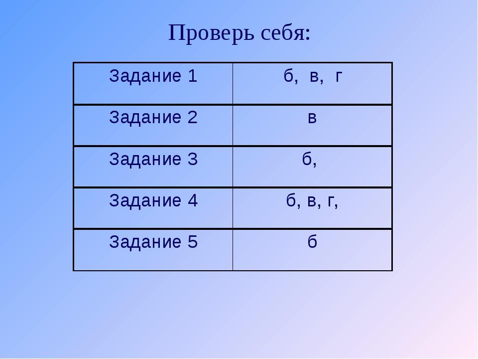 Проверь себя: Задание 1б, в, г Задание 3б, Задание 4б, в, г, Задание 5б З...